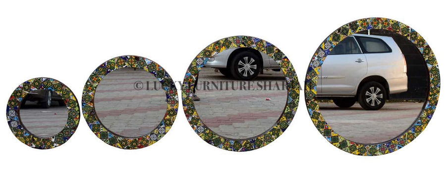 Mosaic Tile Mirror Frame Round  simple lucky-furniture-handicrafts