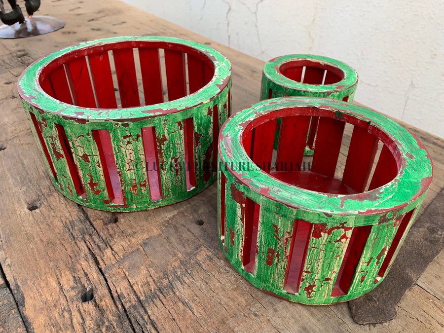 Candle Holder Painted Set of 3  simple lucky-furniture-handicrafts.