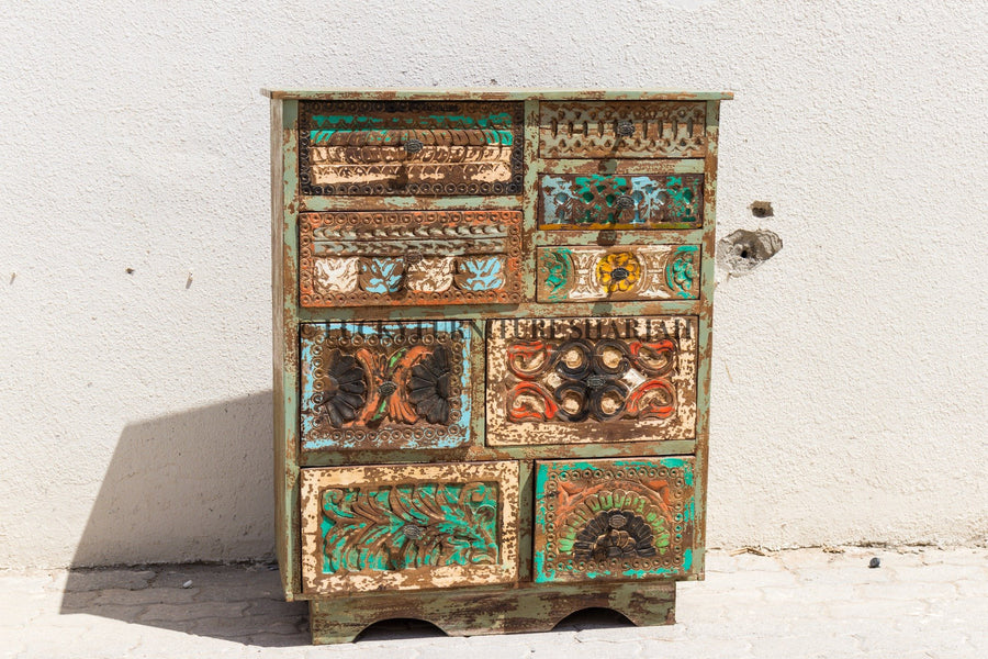 Carved Eclectic Chest of Drawers  simple lucky-furniture-handicrafts.