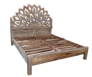 Boho Carved Bed  simple lucky-furniture-handicrafts.