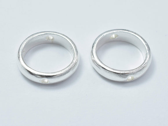 4pcs 925 Sterling Silver Circle Bead Frames, 10.8mm-Ebeader