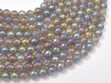 Mystic Coated Gray Agate, 8mm Faceted Round Beads, AB Coated-Ebeader