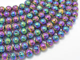 Lava-Rainbow Plated, 8mm (8.7mm) Round Beads-Ebeader