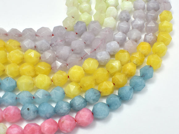 Jade-Multi color, 8mm Faceted Star Cut Round-Ebeader