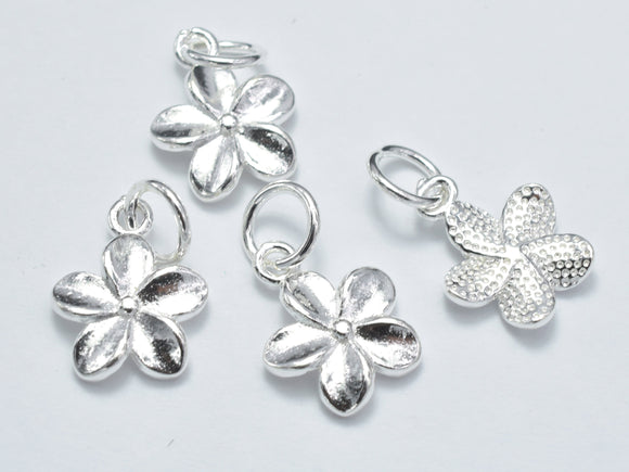 2pcs 925 Sterling Silver Charm, Flower Charm, 10mm-Ebeader