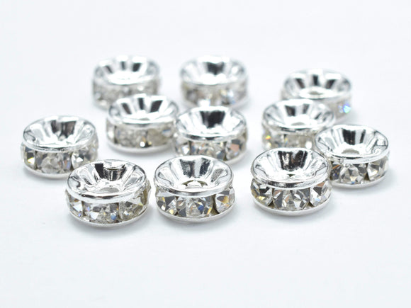 Rhinestone, 8mm, Finding Spacer Round,Clear,Silver plated Brass, 30pcs-Ebeader