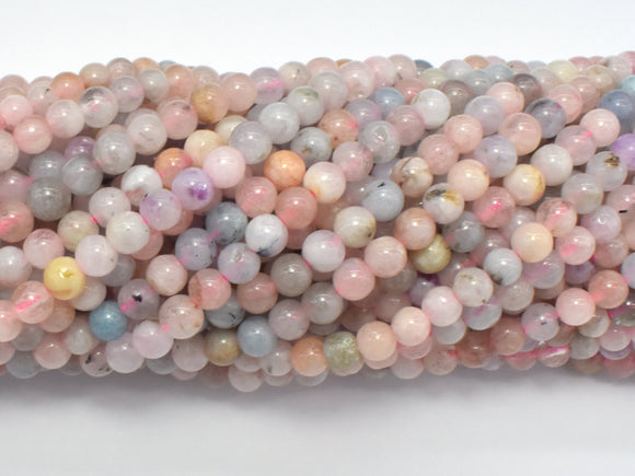 Beryl Beads, Aquamarine, Morganite, Heliodor, 4mm Round