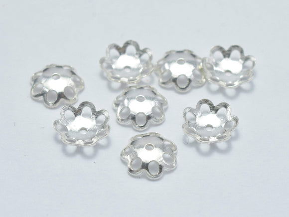 50pcs 5mm 925 Sterling Silver Bead Caps, 5mm Flower Bead Caps-Ebeader