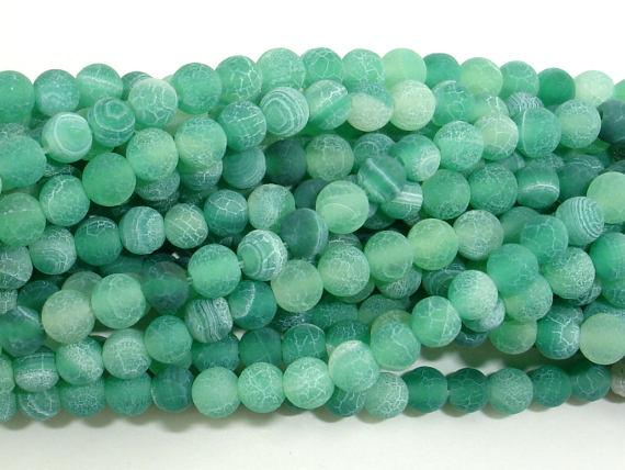 Matte Dragon Vein Agate - Green, 4mm Round Beads, 14 Inch-Ebeader