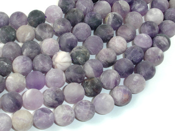 Matte Amethyst Beads, 12mm Round Beads