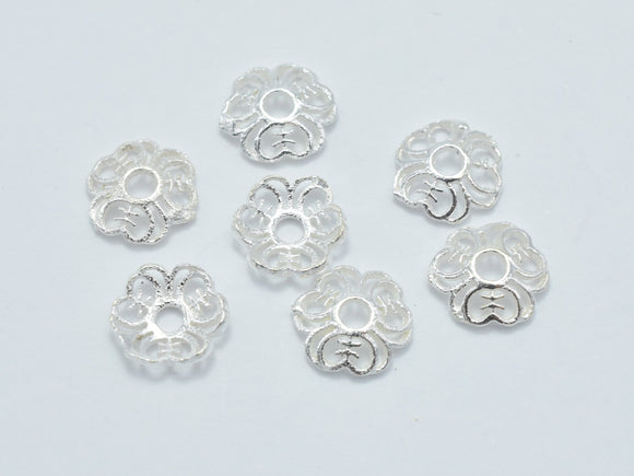 20pcs 925 Sterling Silver Bead Caps, 6x1.4mm Flower Bead Caps