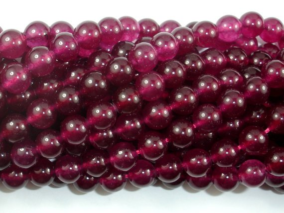 Jade Beads, Fuchsia, 8mm Round Beads-Ebeader