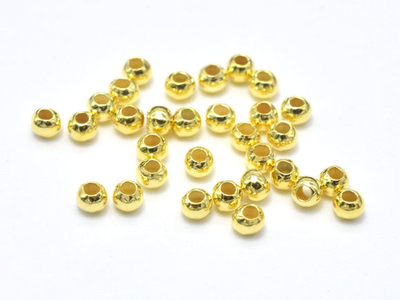 Approx 100pcs 24K Gold Vermeil 2mm Round Beads, 925 Sterling Silver Beads