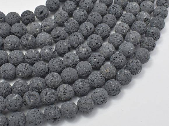 Unwaxed Black Gray Lava, 8mm (8.5mm) Round-Ebeader