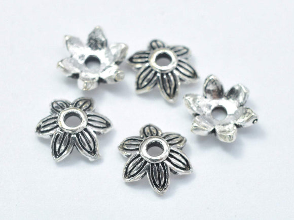 10pcs 925 Sterling Silver Bead Caps-Antique Silver, 7x2.4mm Flower Bead Caps-Ebeader