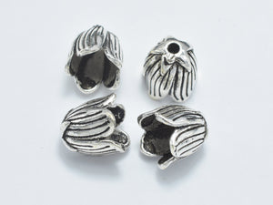 2pcs 925 Sterling Silver Bead Caps-Antique Silver, 8.5x8.5mm Flower Bead Caps-Ebeader