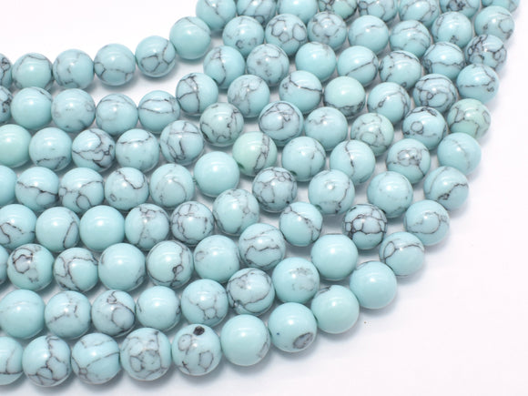 Turquoise Howlite-Light Blue, 8mm Round-Ebeader