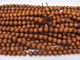 Matte Sandalwood Beads, 8mm Round Beads, 35 Inch-Ebeader
