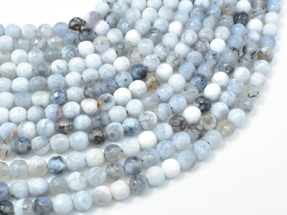 Dragon Vein Agate Beads, Gray & White, 6mm Faceted Round Beads-Ebeader