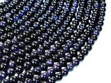 Blue Goldstone Beads, 6mm Round Beads-Ebeader