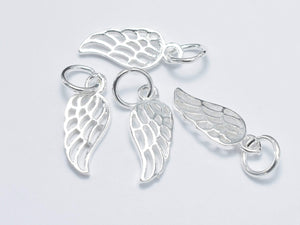 4pcs 925 Sterling Silver Charm, Angel Wing Charm, 6x15mm-Ebeader