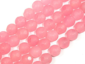 Matte Red Dyed Jade Beads, 10mm Faceted Round Beads-Ebeader