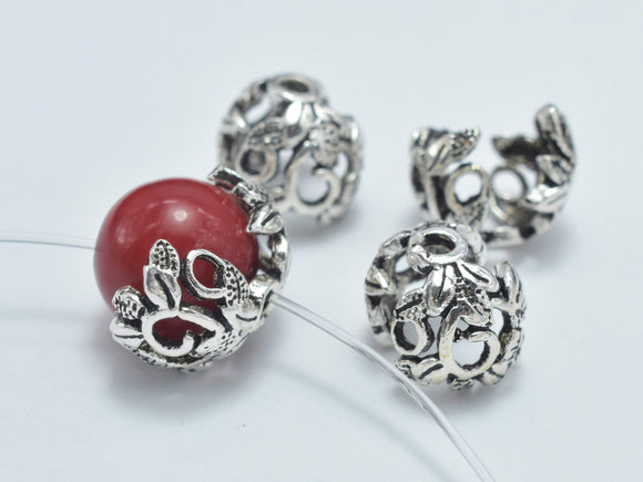 2pcs 925 Sterling Silver Bead Caps-Antique Silver, 8mm Flower Bead Caps-Ebeader