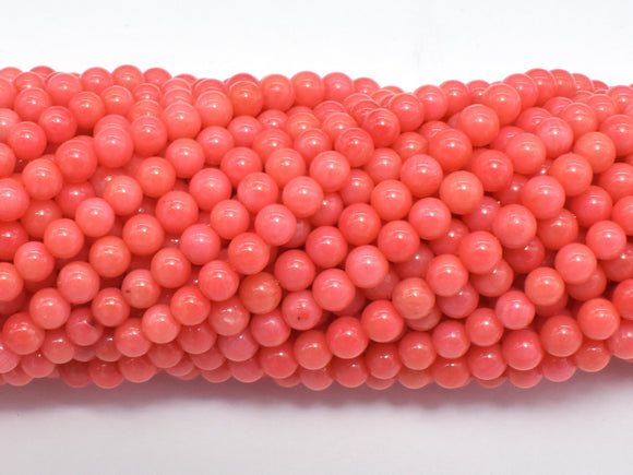 Salmon Pink Coral Beads, Angel Skin Coral, Round, 4mm-Ebeader