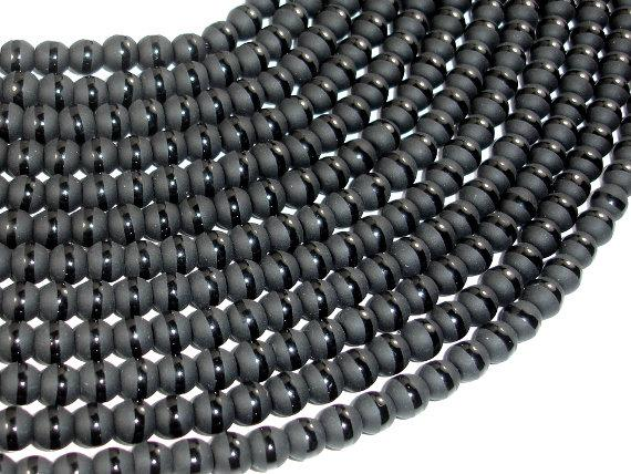 Matte Black Onyx Beads, 6mm Round Beads-with polished line-Ebeader