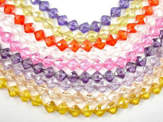 CZ beads, 6 x 6 mm Faceted Diamond-Ebeader