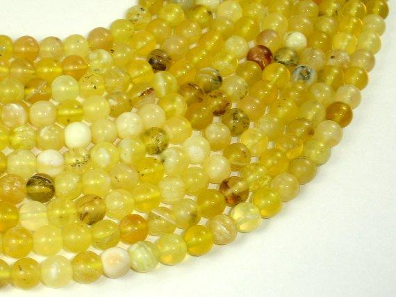 Yellow Opal, 6mm (6.8mm) Round Beads-Ebeader