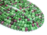 Ruby Zoisite Beads, Approx 4.5mm x 7mm Faceted Rondelle Beads-Ebeader