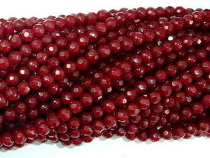 Ruby Jade Beads, 4mm Faceted Round Beads-Ebeader