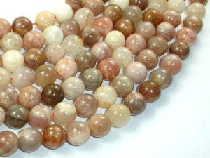 Peach / Gray Mix Moonstone, 10mm Round Beads-Ebeader