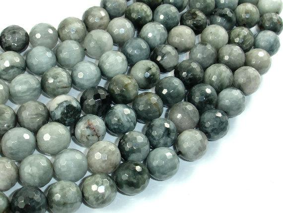 Hawk Eye, 12mm Faceted Round Beads-Ebeader