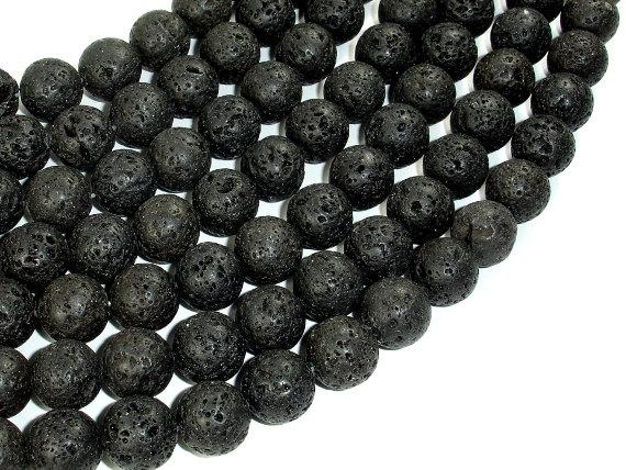 Black Lava Beads, 12mm Round Beads-Ebeader