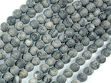 Matte Gray Picture Jasper Beads, 6mm, Round Beads-Ebeader