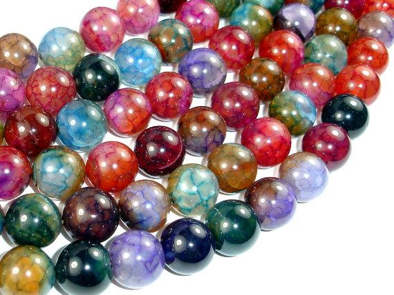Dragon Vein Agate Beads, Multi-colored, 14mm Round Beads-Ebeader