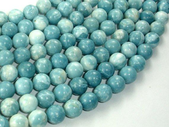 Larimar Quartz, 10mm Round Beads-Ebeader