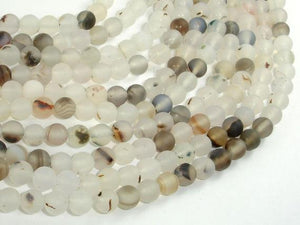 Frosted Matte Agate-White, Gray, 6mm Round Beads-Ebeader