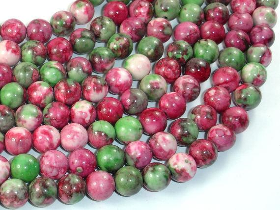 Rain Flower Stone, Red, Green, 8mm Round Beads-Ebeader