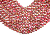 Mosaic Stone Beads, Red, 10mm Round Beads-Ebeader