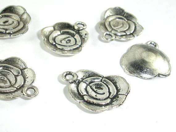 Flower Charms, Zinc Alloy, Antique Silver Tone 20pcs-Ebeader