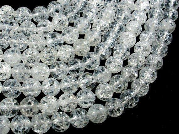 Crackle Clear Quartz Beads, 10mm Round Beads-Ebeader