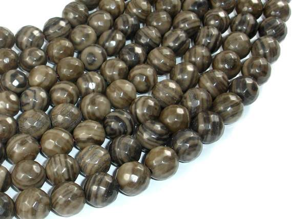Coffee Jasper, 10mm Faceted Round Beads-Ebeader