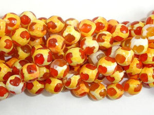 Tibetan Agate Beads, Orange, Faceted Round-Ebeader
