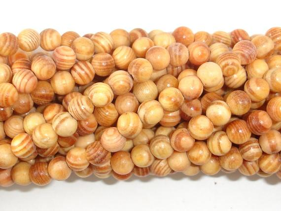Indonesia Agathis Alba King Wood Beads, 6mm Round-Ebeader