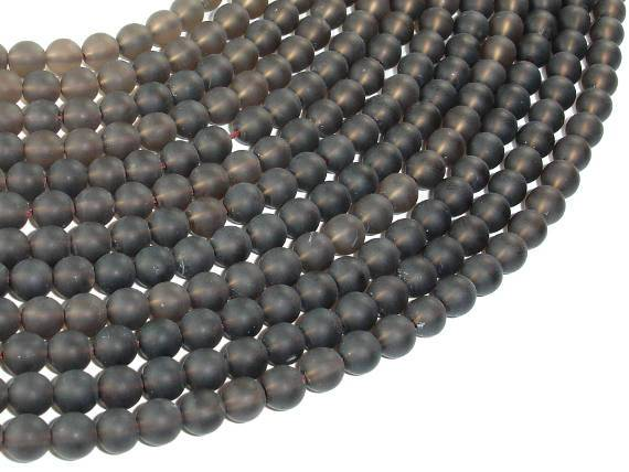 Matte Smoky Quartz Beads, 6mm Round Beads-Ebeader