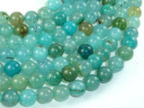 Dragon Vein Agate Beads, Sea Blue, 10mm Round Beads-Ebeader