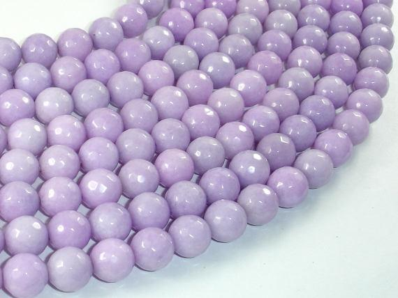 Jade Beads, Lavender, 10mm Faceted Round-Ebeader